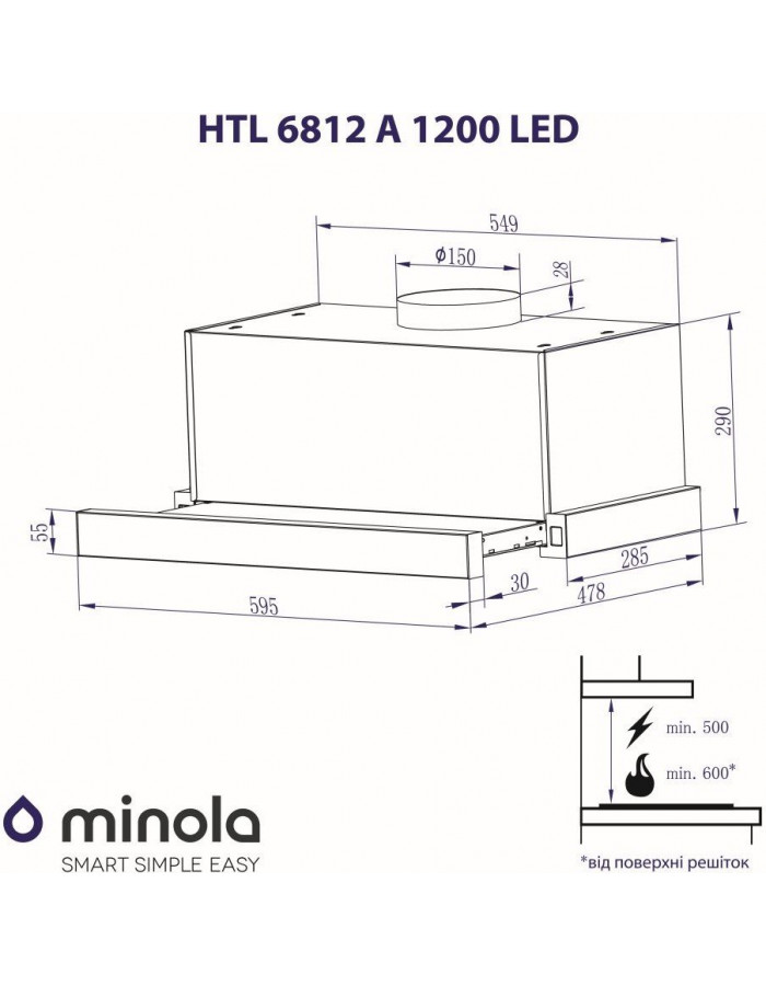 Вытяжка Minola HTL 6612 WH 1000 LED