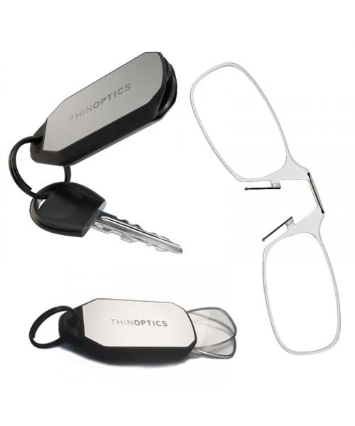 Очки для чтения Thinoptics 1.00, черные + Брелок для ключей ((1.0CBKH)