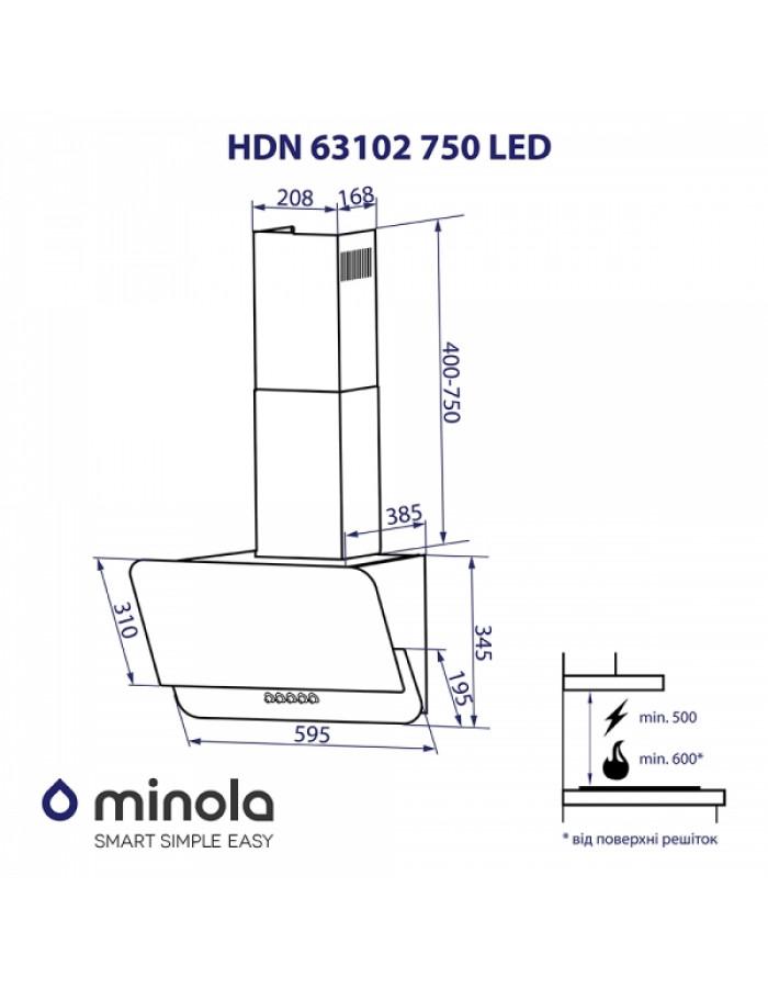 Вытяжка Minola HDN 63102 BL 750 LED
