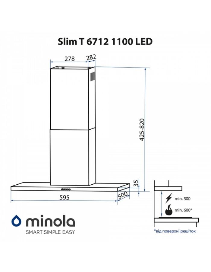 Вытяжка Minola Slim T 6712 I 1100 LED